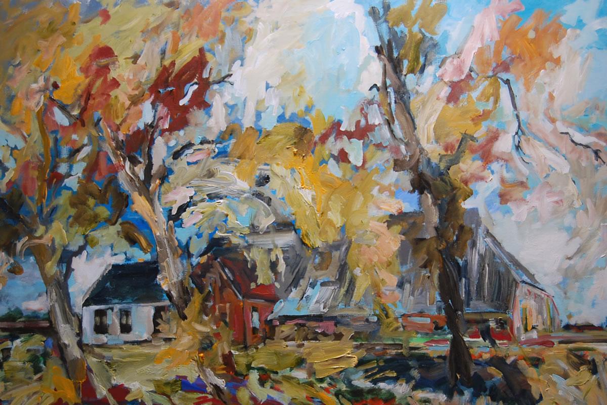 boerderij bij herfst oosterwijtwerd | 150 x 100